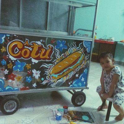 A local Banhmi stand painting. Cô Tư bánh mì Bienhoa Subyone - Anoir