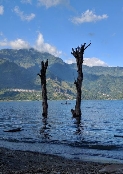 Water Nature Mountain Outdoors Lake Day No People Tree Sky Beauty In Nature Perspectives On Nature Village Central America Traveling Guatemala Lake View Mountain Range Scenics Beauty In Nature Landscape Tranquil Scene Beauty Tranquility Transportation
