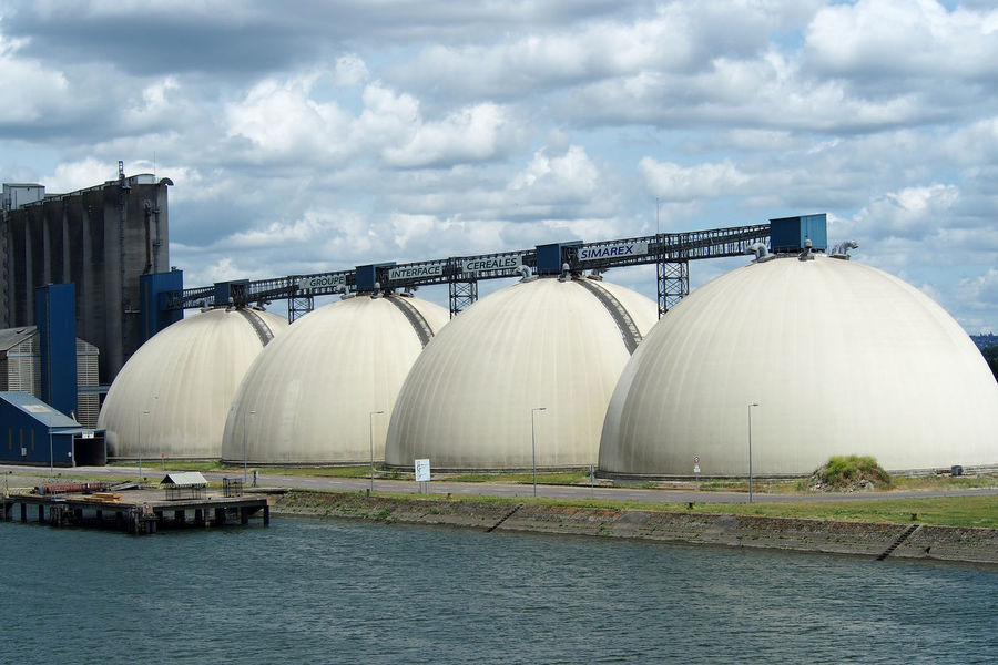 Industrial Building  Rouen, France Cloud - Sky Day Factory Four Balls Fuel And Power Generation Granery Harbor Industry Nature No People Outdoors Reactor Like River Seine Shipping  Sky Water