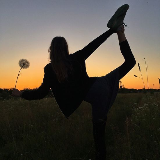 Dandelion Sky Sunset One Person Women Silhouette Lifestyles Adult Nature Real People Leisure Activity Rear View Beauty In Nature Outdoors