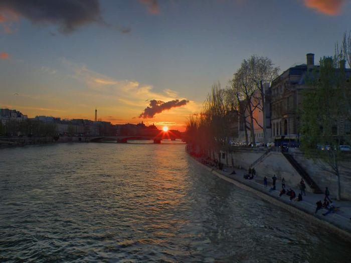 manual HDR of sunset in Paris Pont Des Arts Paris HDR Manualhdr Paris France Seine Seine River City Water Cityscape Sunset Sunlight Sky Architecture Building Exterior