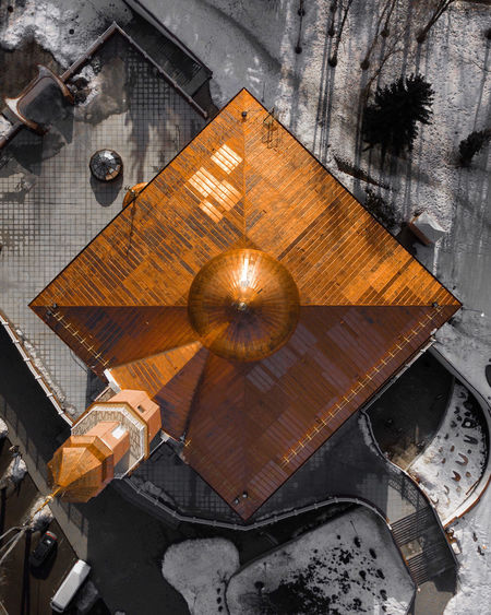 Minsk Mosque Brown Built Structure Table Metal High Angle View No People Architecture Mosque Aerial View Aerial Muslim Islamic Architecture Copper  Rooftop Roof