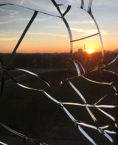 Broken Beauty Shattered Sunset Sky Nature No People Orange Color Cloud - Sky Glass - Material