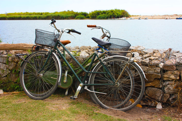 Bicycles parked by the lake