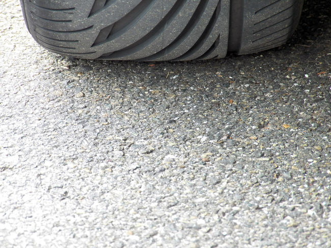 Tyre Profil Groove Sport Tyre Profil Grooves Rubber Macadam Black Day Close-up In France