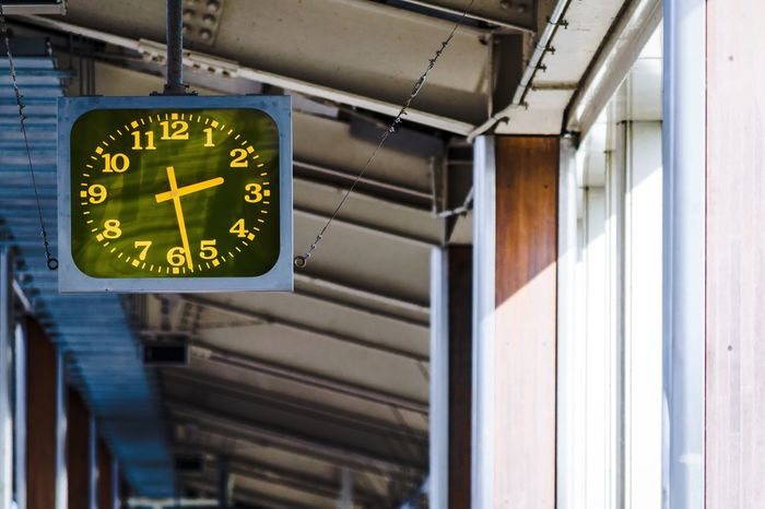 Station clock Station Clock Number Text Low Angle View No People Time Indoors  Clock Illuminated Day Clock Face Minute Hand 駅の時計 Adobe PS Express Filmatic filter. Filmatic Filter 映画的フィルタ JR Tokai Japan Jr 😶ソニー使った後にニコンを使ってほぼ一年になる、ソニーに戻りたいと時々思う。ニコンは今後大丈夫だろうか?と言うニュースを見た。