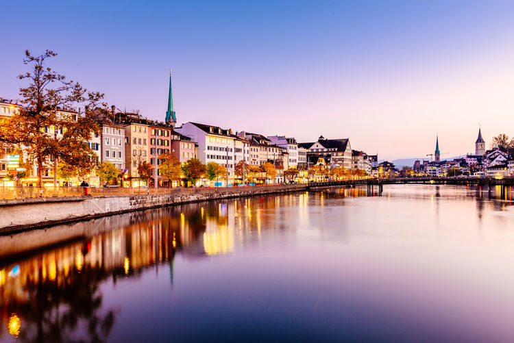 Architecture Blue Bridge - Man Made Structure Building Exterior City Cityscape Clear Sky Dusk Illuminated Landscape Night No People Outdoors Reflection Sky Sunset Switzerland Tourism Travel Travel Destinations Twilight Urban Skyline Vacations Water Zürich Fresh On Market 2017 My Best Photo
