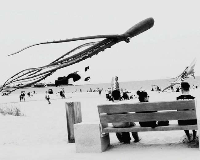 Nothing better than Kite Flying on a Beach Day Beachphotography Black & White Bkackandwhite Bench People Sitting Sightseeing