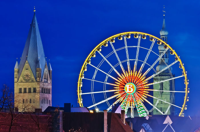 Kirmes 2014 Karussell Kirmes Riesenrad Architecture Blue Building Exterior Built Structure Longtimeexposure Low Angle View Night No People Outdoors Sky Soest