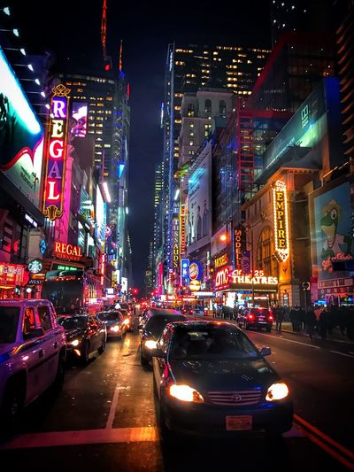 Illuminated Night Architecture Car Building Exterior Street Transportation City Street City Built Structure Road City Life Outdoors Travel Destinations Nightlife No People Neon Sky New York City Electricity