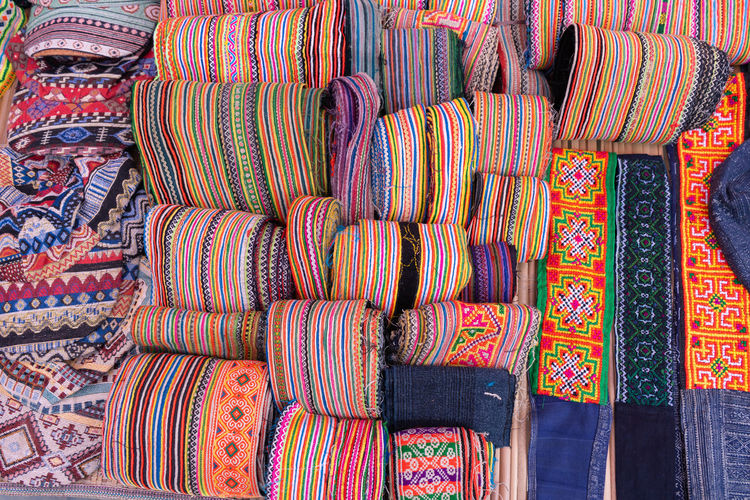 Full frame shot of multi colored textile for sale in market