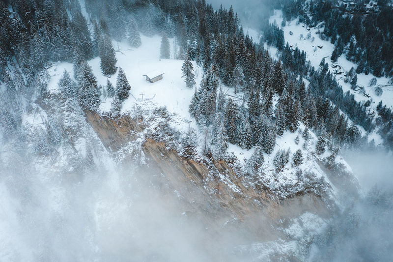 Aerial view of snow covered trees on field against sky