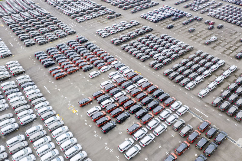High angle view of cars on railroad station