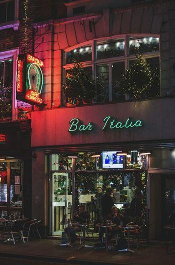 Illuminated Night Architecture City Nightlife Neon Indoors  London Night Soho London Street Photography Bar Italia Streetphotography Sitting Leisure Activity London Lifestyles