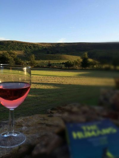 Rosedale North Yorkshire Moors Wineglass Book Reading & Relaxing Countryside Blue Sky And Green Fields