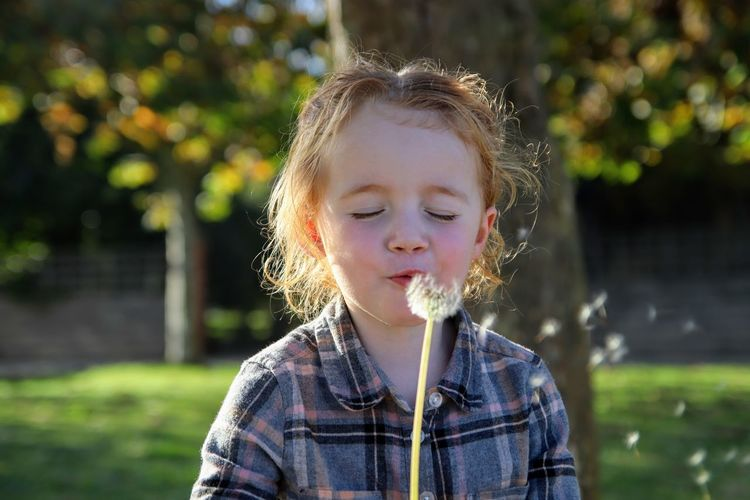 Close-up of girl blowing dandelion at park