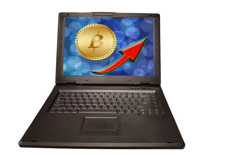 Cryptocurrency graph on virtual screen. Business, Finance and technology concept. Bitcoin, Ethereum Technology Computer Communication White Background Wireless Technology No People Shape Connection Laptop Studio Shot Computer Equipment Indoors  Keyboard Business Computer Keyboard Device Screen Cut Out Geometric Shape Still Life Design Global Communications