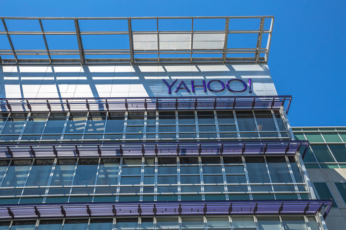Sunnyvale, California, United States - August 15, 2016: Yahoo Headquarters facade building. Yahoo is a multinational technology company that is known for its web portal. Company Multinational Sunnyvale USA United States Yahooweather America Architecture Blue Building Building Exterior Built Structure Day Headquarters Hq Low Angle View No People Outdoors Search Engine Sky Street Sunnyvale Street Yahoo