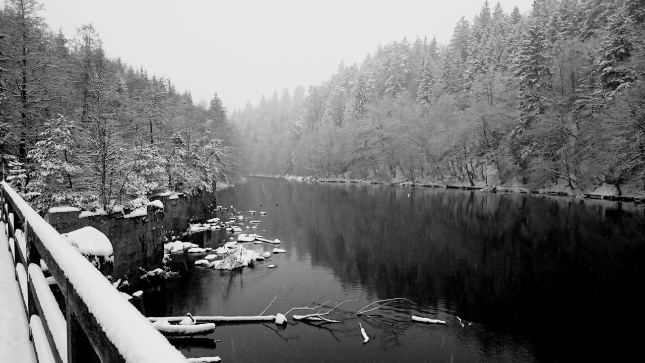 Panoramic Shot Of River Against Sky During Winter
