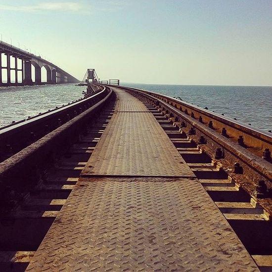 A closer look of the tracks of Pamban Bridge, Rameswaram. In the backdrop, Annai Indira Gandhi Road Bridge, Pamban. Solotrip Southindia Tamilnadu India iPamban Railway Bridge 100years Old Structure Indianrailways Indian Ocean Twocolors Of The Sea Annaiindiragandhi Road Bridge