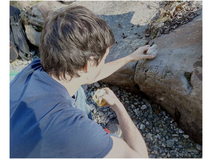 Riverside Boys Childhood Outdoors Playing Rock Rock - Object Rocks On Rocks