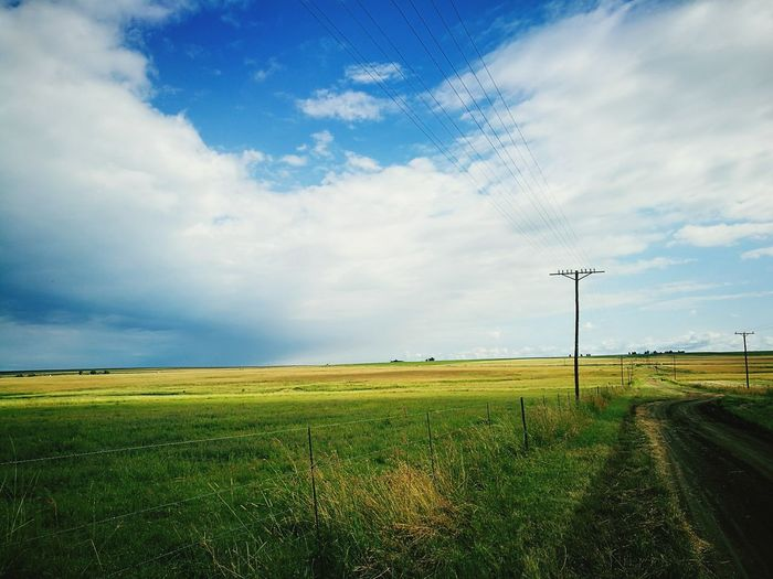 Cloud - Sky Sky Outdoors Green Color Grass Nature Landscape Beauty In Nature Sky And Clouds Grasslands Grassland Grass And Sky Skyandclouds  Blue Sky Clouds Cloudy Sky Dark Clouds Yellow Fields Dirt Road Gravel Road Farm Road