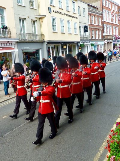 Windsor Royal Wedding Royalty Marching Soldiers Military Uniform Large Group Of People Uniform Building Exterior Marching Military Parade Parade Men Royal Person Built Structure Architecture Real People Day Outdoors Ceremony Red Army Army Soldier Togetherness Adult Windsor