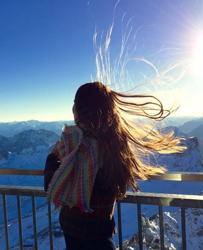 From My Point Of View Up High Austria Mountains Windy Cold Hairstyle