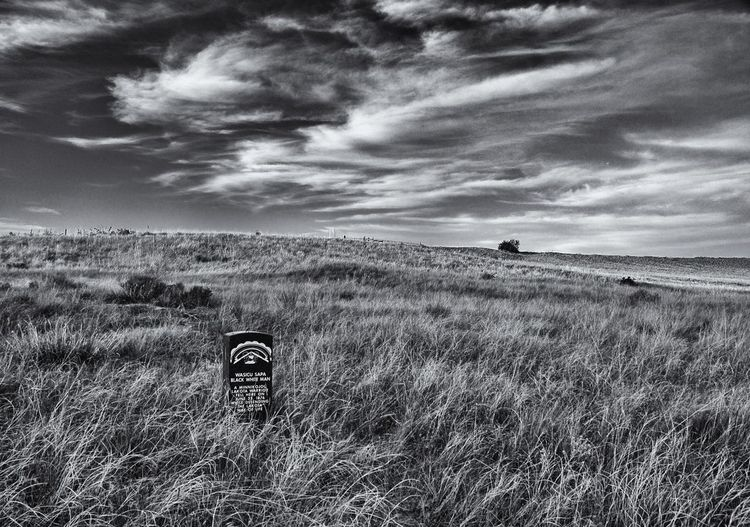 Black White Man fell near here defending his way of life Lakota Sioux Little Bighorn Battlefield National Monument Custer Battlefield Blackandwhite Landscape EyeEmNewHere Light And Shadow Montana Clouds And Sky National Park