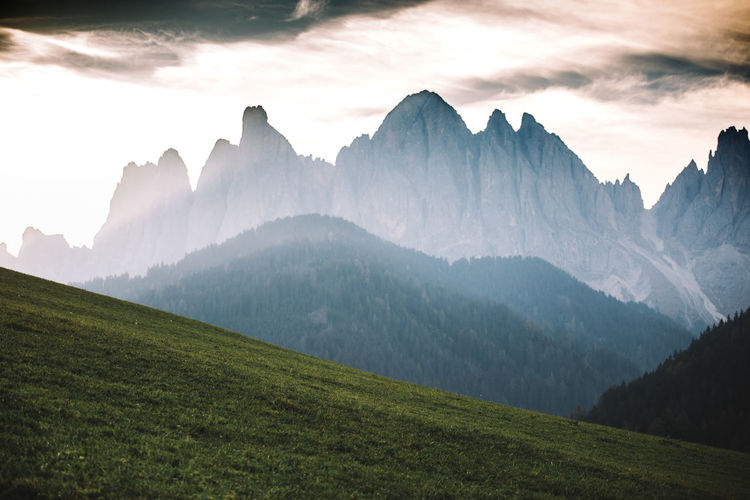 Mountain Sky Environment Cloud - Sky Beauty In Nature Mountain Range Landscape Tranquil Scene Nature Scenics - Nature Tranquility No People Non-urban Scene Land Idyllic Grass Mountain Peak Outdoors Panoramic High Height Range Dolomites, Italy Wallpaper Nature