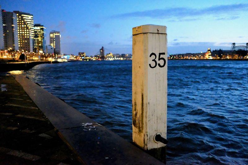 35 City No People River Thirty-five Water Waterside Woodenpost