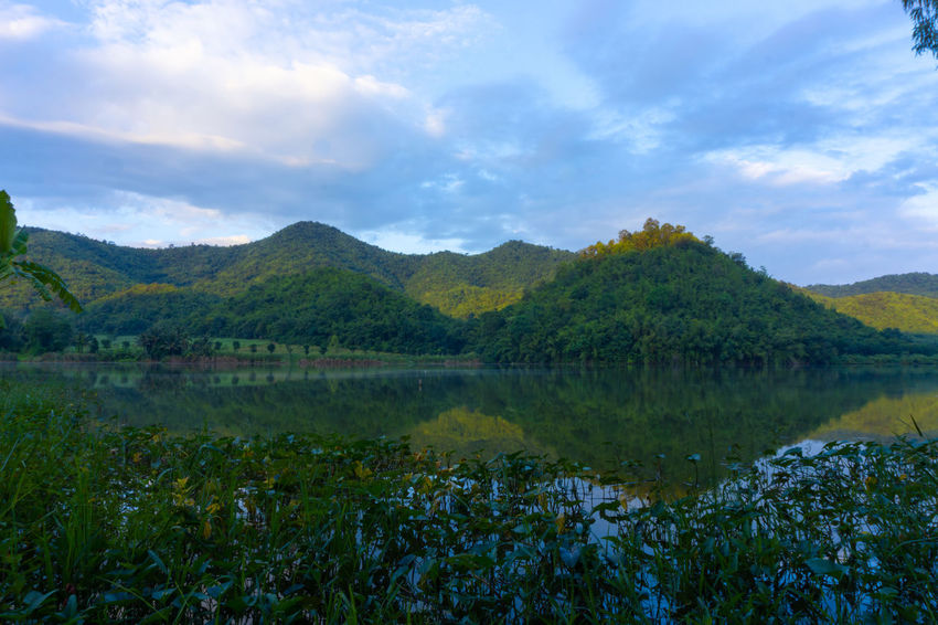 Water Sky Cloud - Sky Plant Beauty In Nature Tranquil Scene Scenics - Nature Lake Mountain Tranquility Nature Reflection No People Growth Day Tree Non-urban Scene Landscape Environment Outdoors