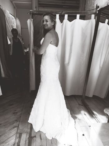 EyeEm Selects Bride Wedding Dress Wedding Indoors  Full Length Life Events Real People Bridal Shop Fitting Room Preparation  One Person Standing Happiness Young Adult Beautiful Woman Young Women Trying On Day People