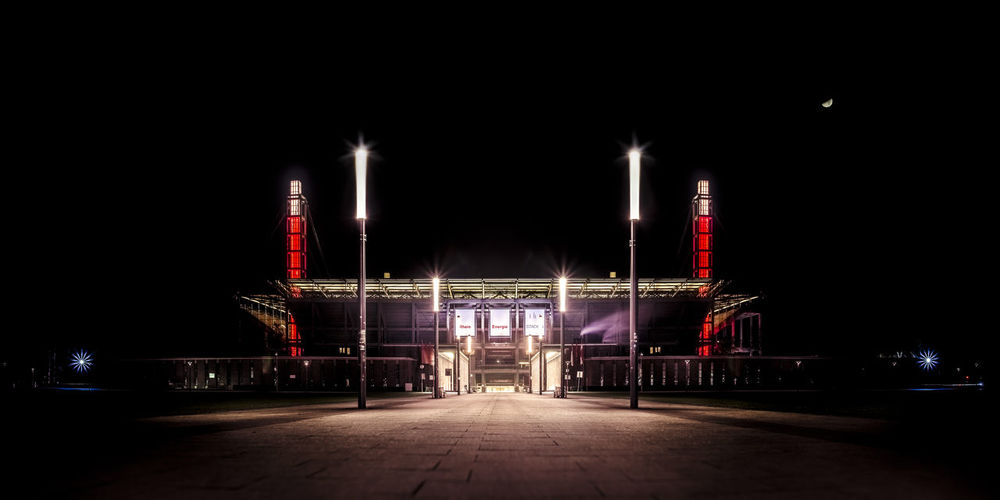 Architecture Built Structure City Illuminated Lights Night No People Outdoors Red Soccer Stadium