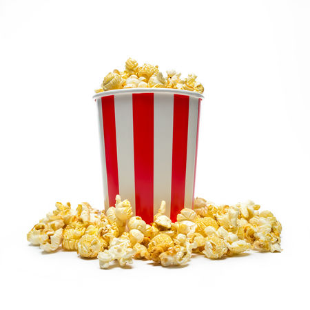 popcorn in a box isolated on white background Beverage Box Hollywood Isolated Kettle Popcorn Salt Snack Sugar Bowl Butter Carbohydrates Cinema Corn Crunchy Delicious Eat Entertainment Food Isolated On White Isolated White Background Movıe Striped Sweet Food Tasty