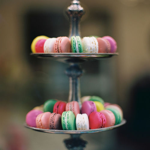 Close-up of multi-colored macarons.
