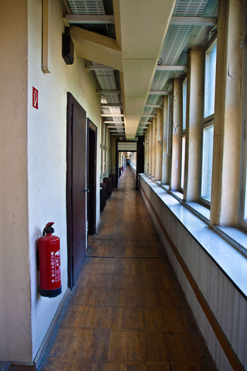 Architecture Berlin Built Structure Corridor Day Endlessness Funkhaus Berlin Nalepastrasse Indoors  No People Red The Way Forward