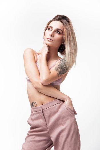Ni EyeEm Best Shots Fashion Pink TheWeekOnEyeEM Beautiful Woman Fashion Photography Portrait Studio Shot Tattoo White Background Young Adult Young Women