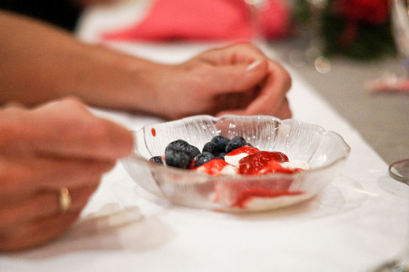 Close-Up Of Hand Holding Dessert In Plate
