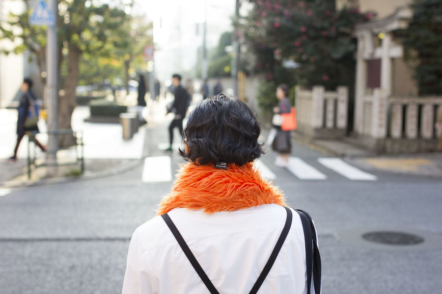 Asian  Clothes Fashion Fasionable From Behind Japan Japanese  Man Observer Orange People Standing Street Street Photography The Street Photographer - 2016 EyeEm Awards Tokyo Watching Colour Of Life