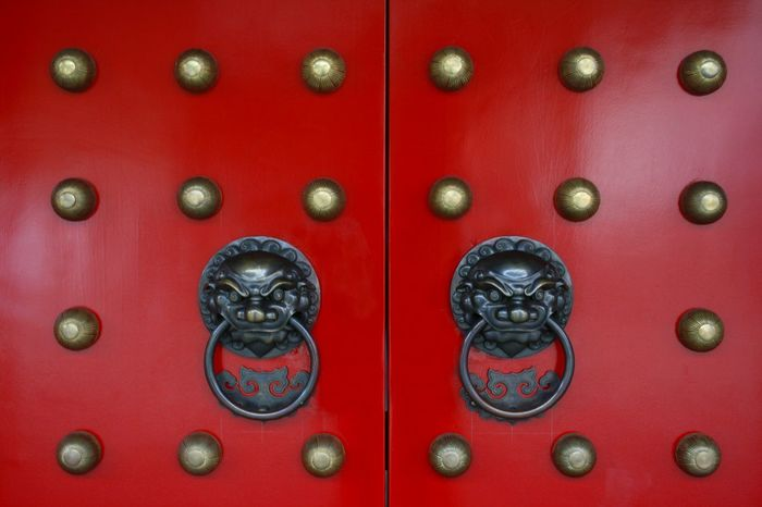 Traditional Chinese brass animal head door knockers on a temple in Singapore ASIA Tourist Attraction  Travel Photography Animal Representation Art And Craft Brass Chinese Close-up Day Door Door Knocker Indoors  Lion - Feline Metal No People Pattern Red Temple Door Tourist Destination