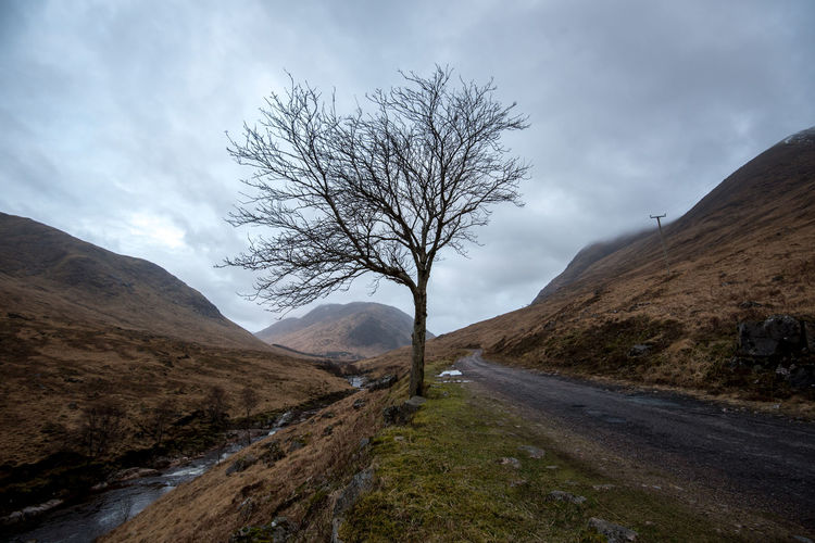 Cloudy Glencoe Glenetive Mountain Nature Nofilter River Riverbed Rocks Schottland Scotland Tree Valley