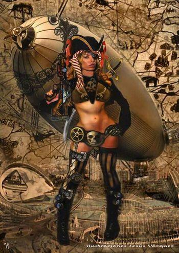 Steampunk Pirata Pirates Pirate Ship Woman Ilustraciones Ilustrator Ilustration Illustrations  Illustration Illustrator Art Art, Drawing, Creativity Ilustracion Artistic Artist ArtWork Fantasia Fantasy Mujer Zepellin