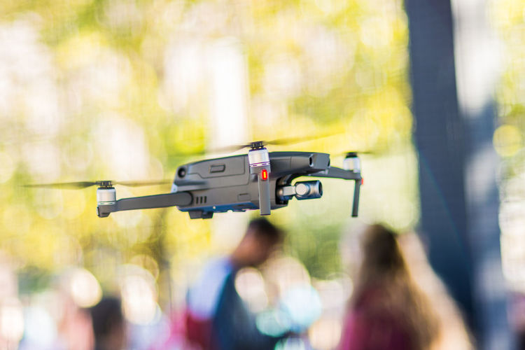 Close-up of drone in mid-air