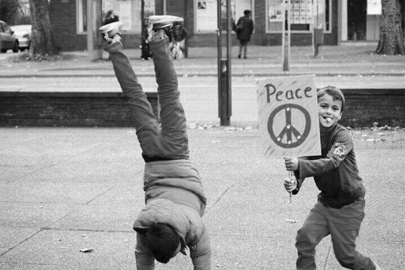 Demo against War Black & White Against War Children Peace