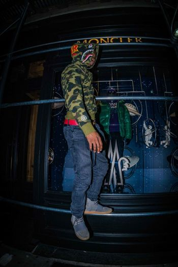 Moncler NYC NYC Photography Soho Adult Bape Casual Clothing Fashion Model Fashion Photography Full Length Lifestyles Men Night One Person Outdoors People Real People Standing Yeezy