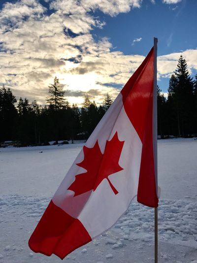 Canada Flag Patriotism Sky Outdoors Frozen Lake Winter Travel Canadian Cold Temperature EyeEmNewHere Nature Pride Beautiful Canada Eh! Great White North Proud Red And White