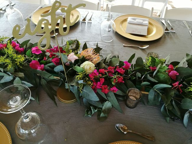 Flower Variation High Angle View Table Indoors  No People Arrangement Day Fragility Nature Freshness Close-up Table Number Golden Charger Wedding Table Plant Wedding Decoration Centerpiece Floral Arrangment Roses Mexican Wedding Beach Wedding Rose - Flower Outdoors Ready To Eat