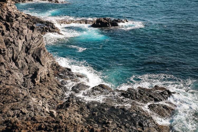Scenic view of sea and a coastline