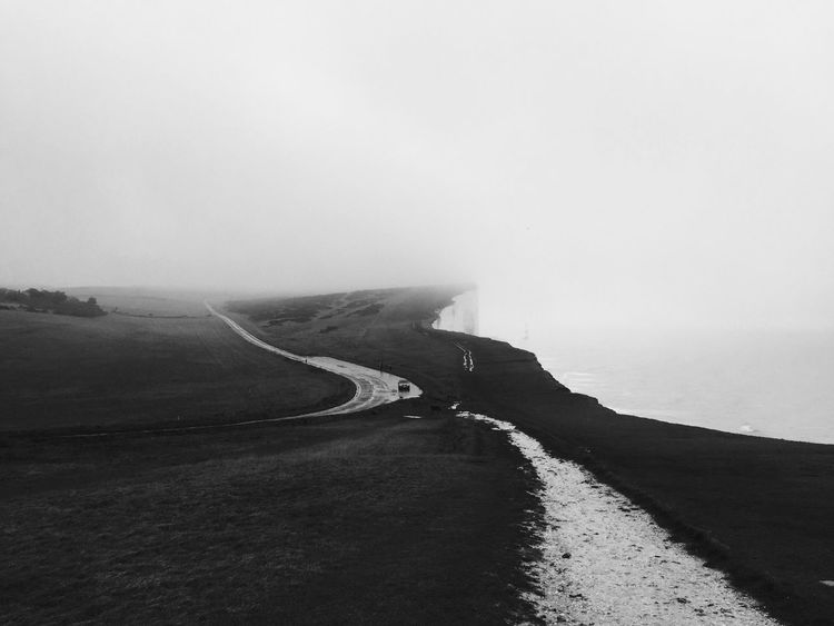 Cliff Fog England Blackandwhite On The Road